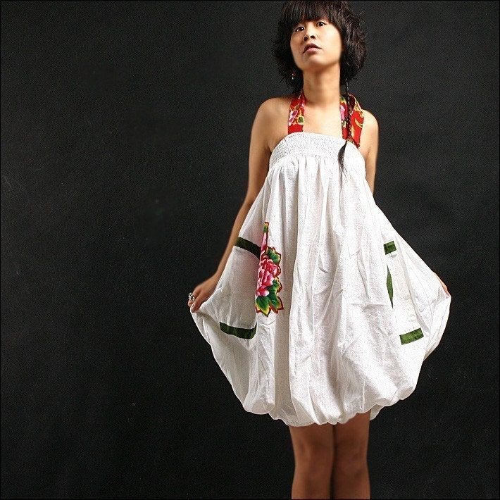 Etsy :: idea2lifestyle :: FLORAL SPAGHETTI STRAP WHITE COTTON DRESS WITH PEONY from etsy.com