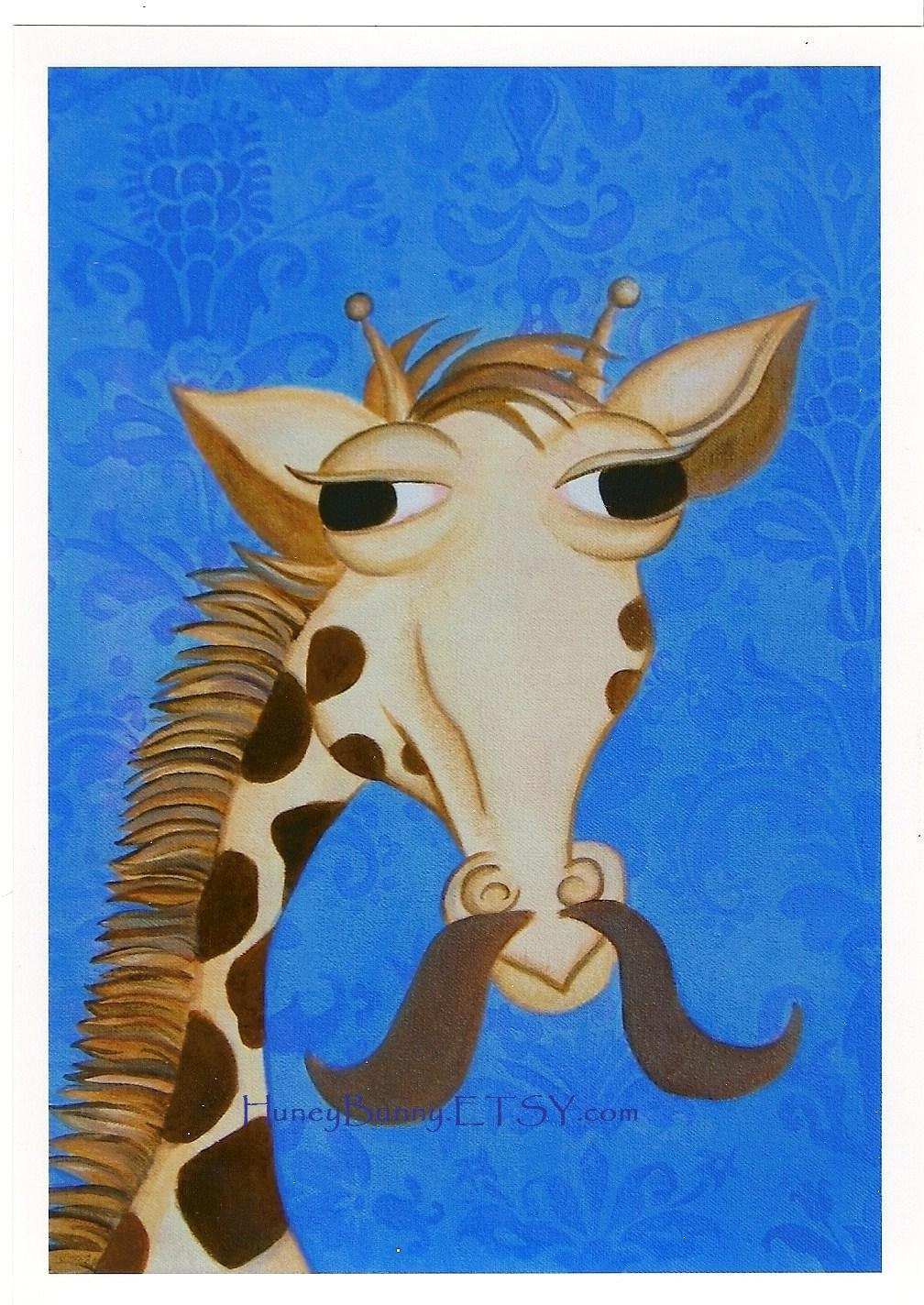 GIRAFFE ART. 8x10 Print.  Whimsical Giraffe with Mustache. Print from the painting: Grover Comb-over