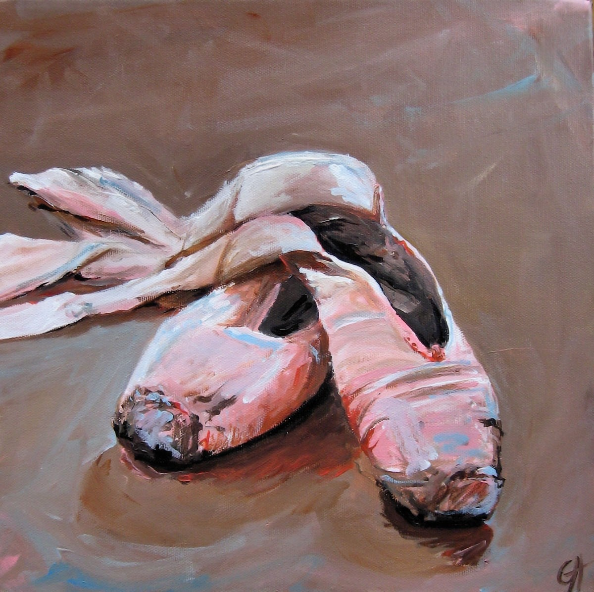 Ballet Shoes - Original Acrylic Painting - 12 x 12 on 1.5 inch gallery wrapped canvas