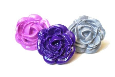 Set of 3 Large Rose Rings -  Purple