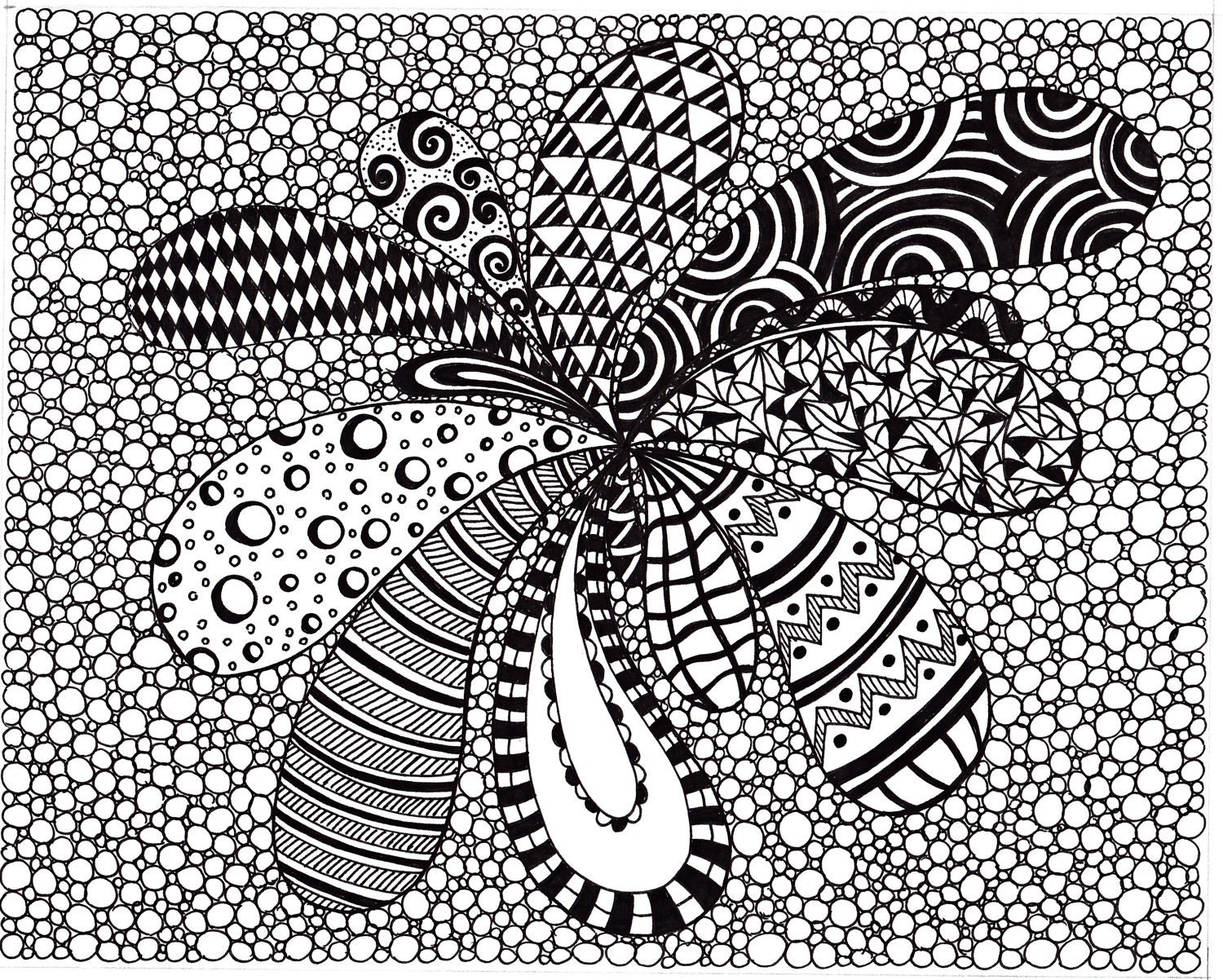 Zentangle Inspired Abstract Art Print Ink Drawing By JoArtyJo