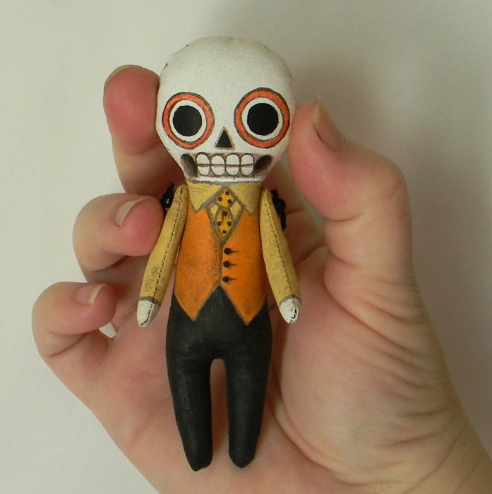 Halloween Skeleton Day of the Dead Ornament-- Original Contemporary Folk Art Doll