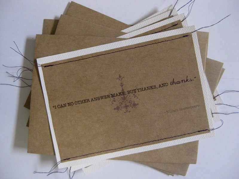 Stitched thank you notes with quote (set of 4 with envelopes)
