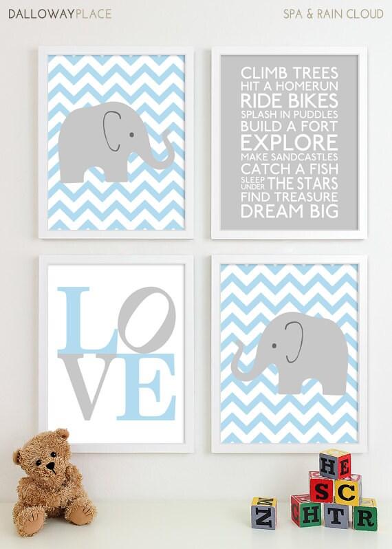 Baby boy nursery art chevron elephant nursery by dallowayplacekids - Wall decor for baby boy ...