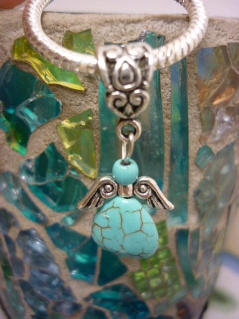 Turquoise Howlite Angel Pendant
