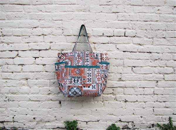India Inspired Upcycled Weekender - Bold Terra Cotta & Black Ethnic Tribal Print Market / Diaper Bag - Eco Friendly Fashion - Gift Under 50 - SandBagsDesigns