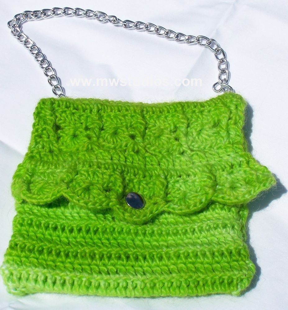 Lawn Party Lime Green  Purse Knit Crochet