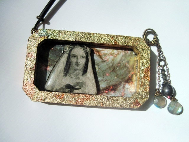 Bride of Vast Spaces. Cosmic Victorian Tribal Pendant Necklace with Druzy, Virgin Mary, Galaxy Nebula.