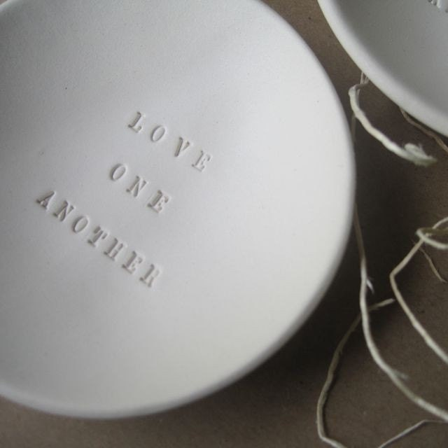 LOVE ONE ANOTHER tiny text bowl by Paloma's Nest