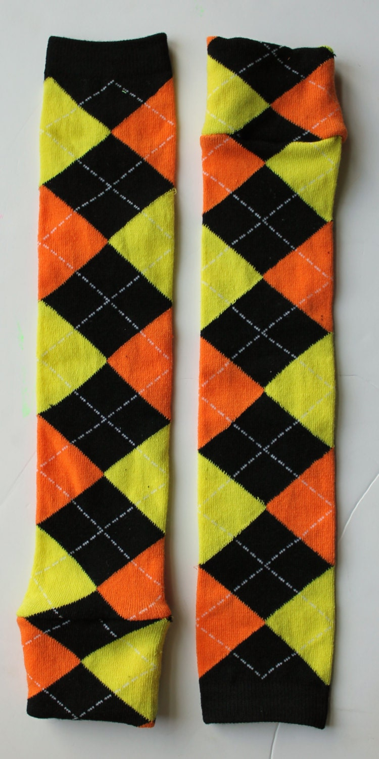 Halloween Orange, Black, and Yellow Argyle BeezLegz: Baby/Toddler/Child Leggings & Adult Arm Warmers - LadyBeez