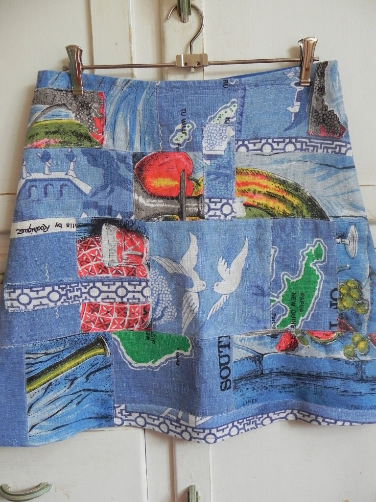 Upcycled Vintage Linen Tea Towel Patchwork A Line Womens Skirt Blue