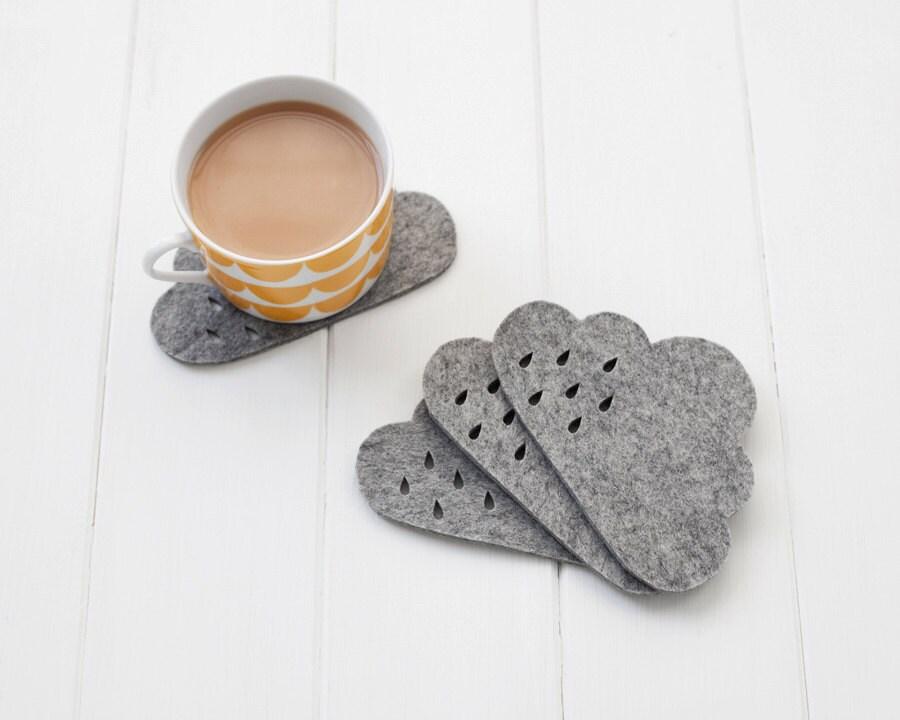 Cloud Felt Coaster set with punched rain detail -  100% 4mm grey mélange wool felt, set of 4