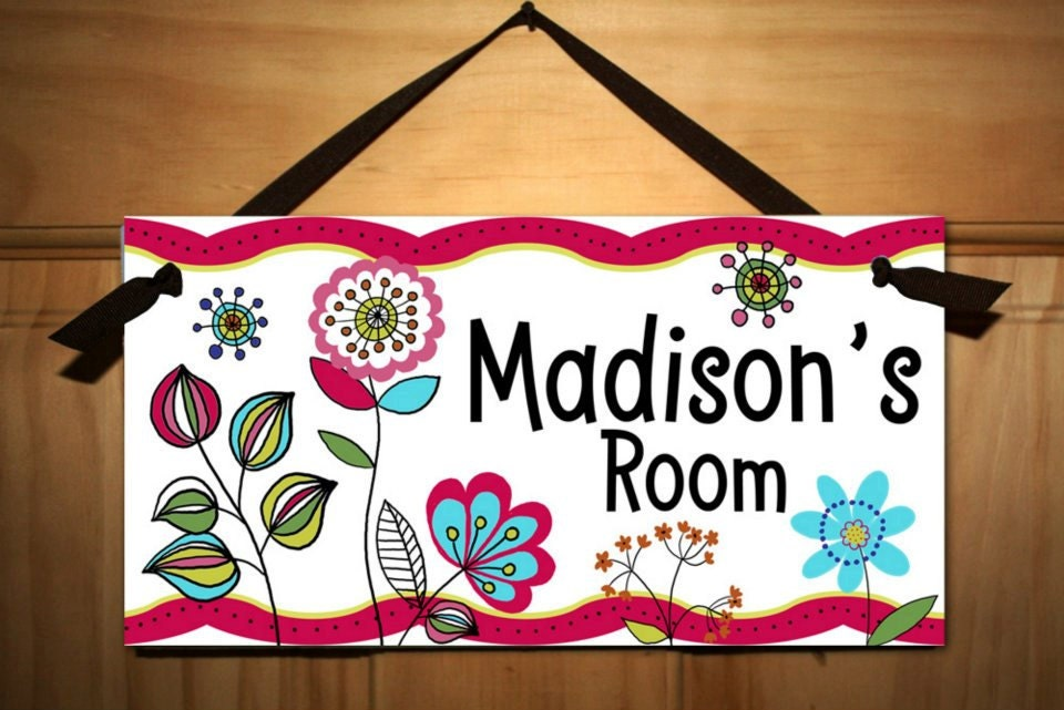 floral girls bedroom door sign wall art by toadandlily on etsy