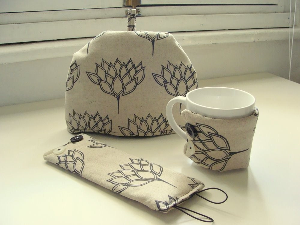 Handmade Tea Cozy set - one mug cozy and two matching tea cozies