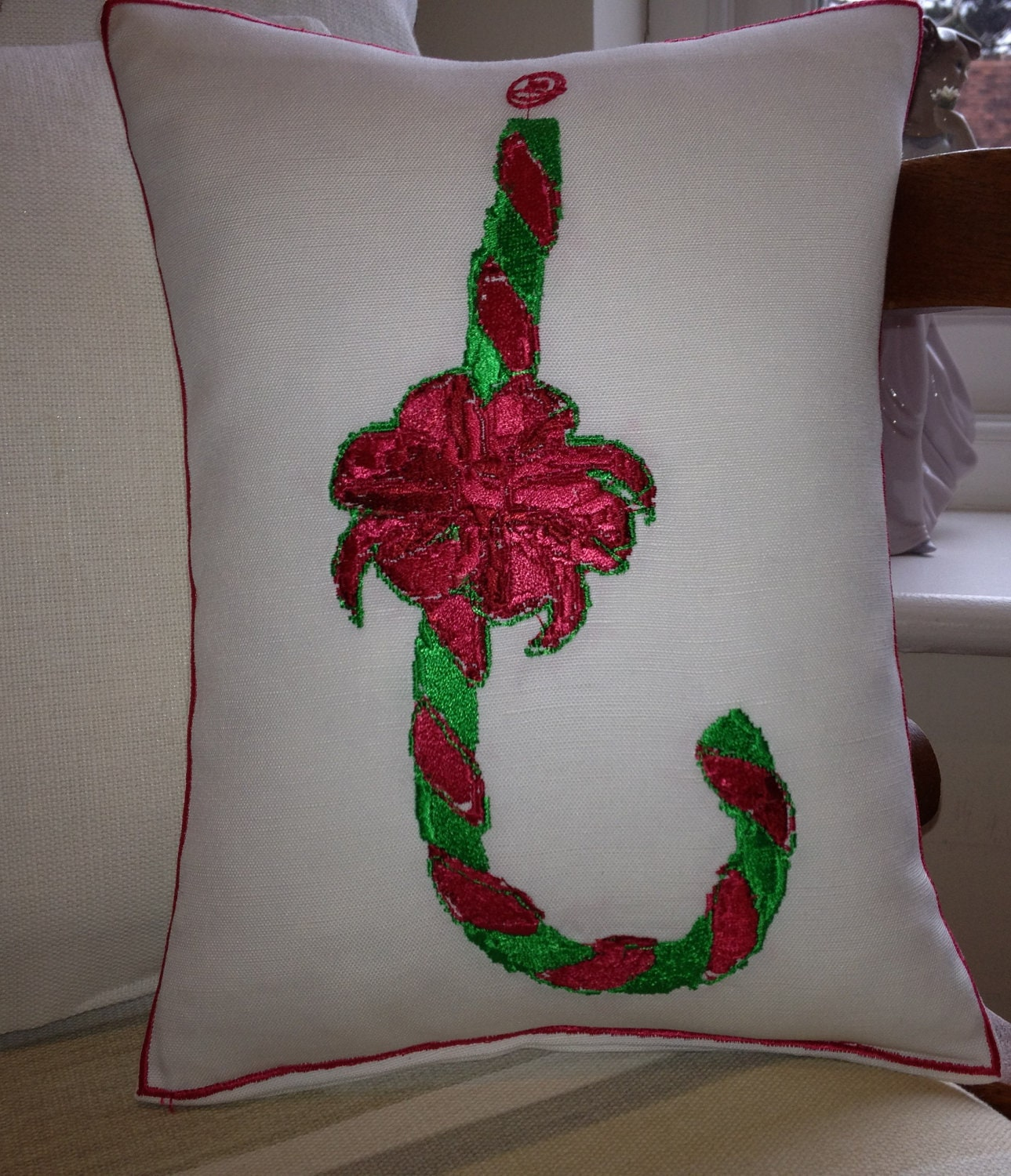 Candy Cane, Artistic Embroidery - Throw Cushion
