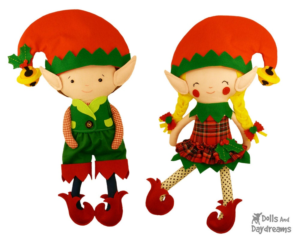 Elf Doll Clothes Sewing Pattern PDF DIY Dress up Christmas Elves Toy Outfits - fits my large dollies - DollsAndDaydreams