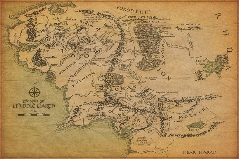 Silk Fabric Cloth Wall Poster Map Of Middle Earth By
