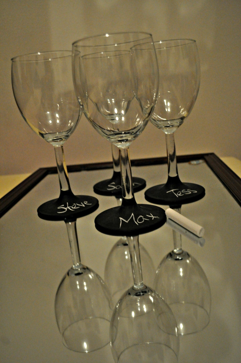 items similar to chalkboard label wine glass set of 4 on etsy