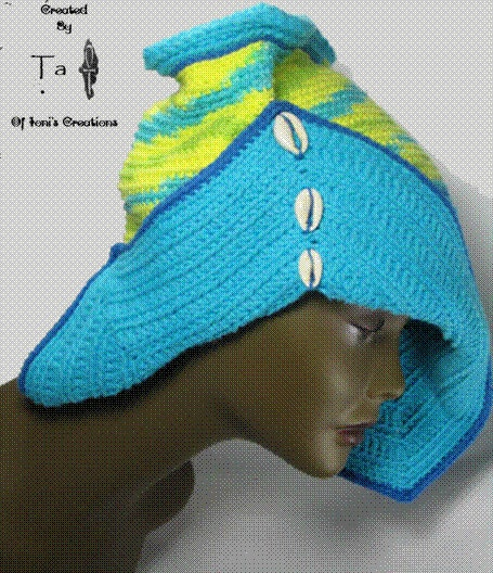 Turquoise and Multi Angular hat with 3 cowries