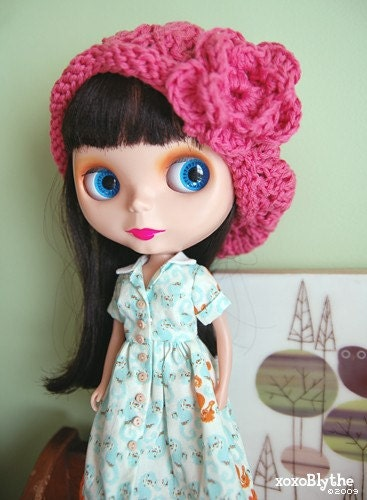 Knitted Slouchy Hat for Blythe - Rose Pink