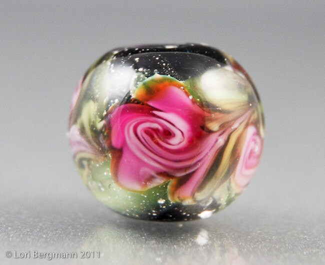 RESERVED for Fire Divas Team Giveaway - Watercolor Rose Lampwork Bead by Lori Bergmann