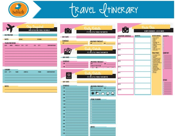 Itinerary Vacation Printable Editable Blank – Cruise Itinerary Template