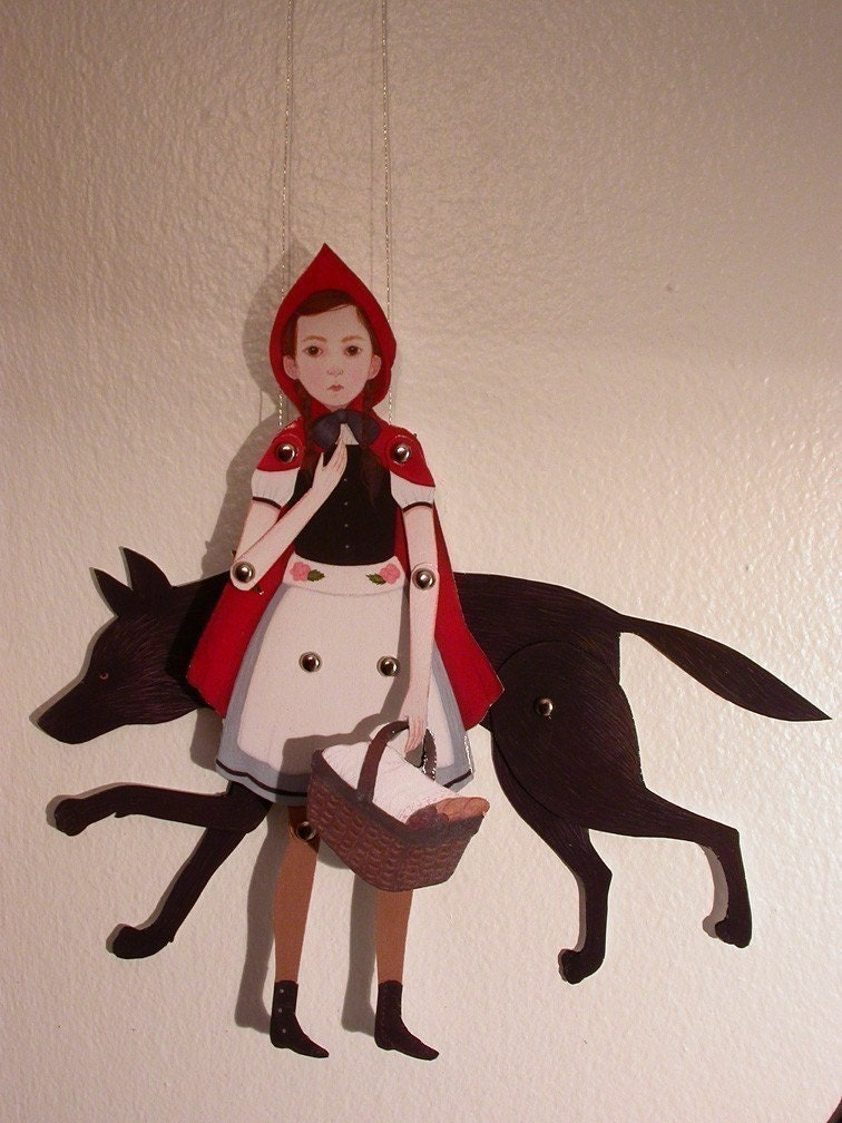 little red riding hood - jointed paper doll set/print with 10 silver brads