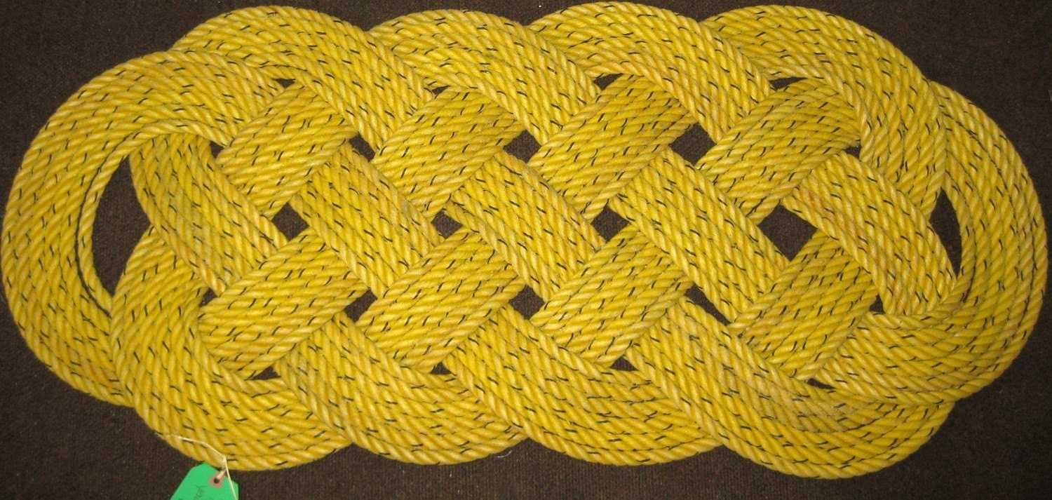 "Yellow Crab Line Large Outdoor Rope Rug 47"" x 22"""