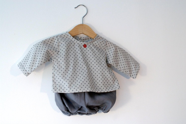 SALE 50% - Ensemble 3 mois, tunique et bloomer coton et lin - MoutonCerise