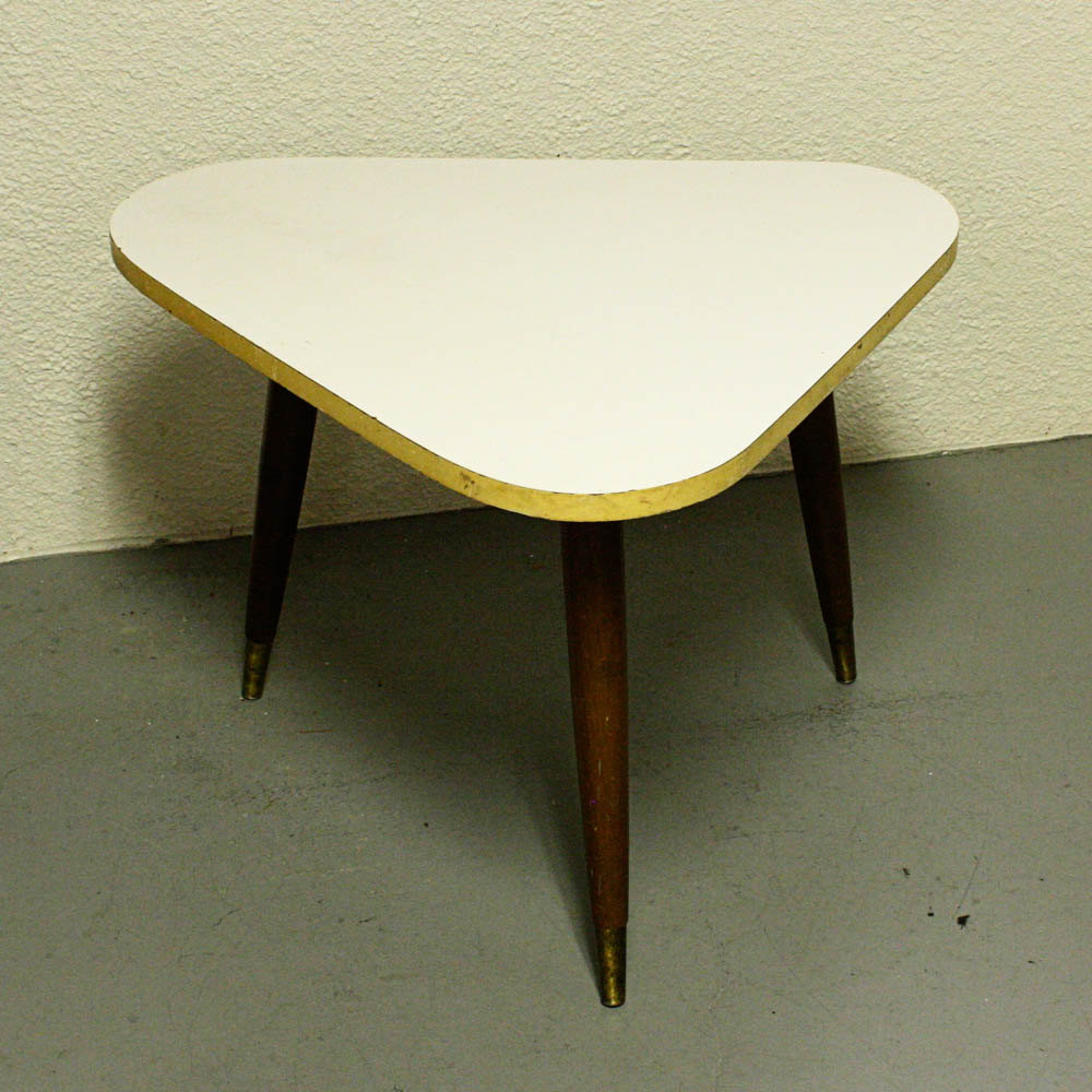 Vintage Table Stand Side Table Triangle White By OldCottonwood