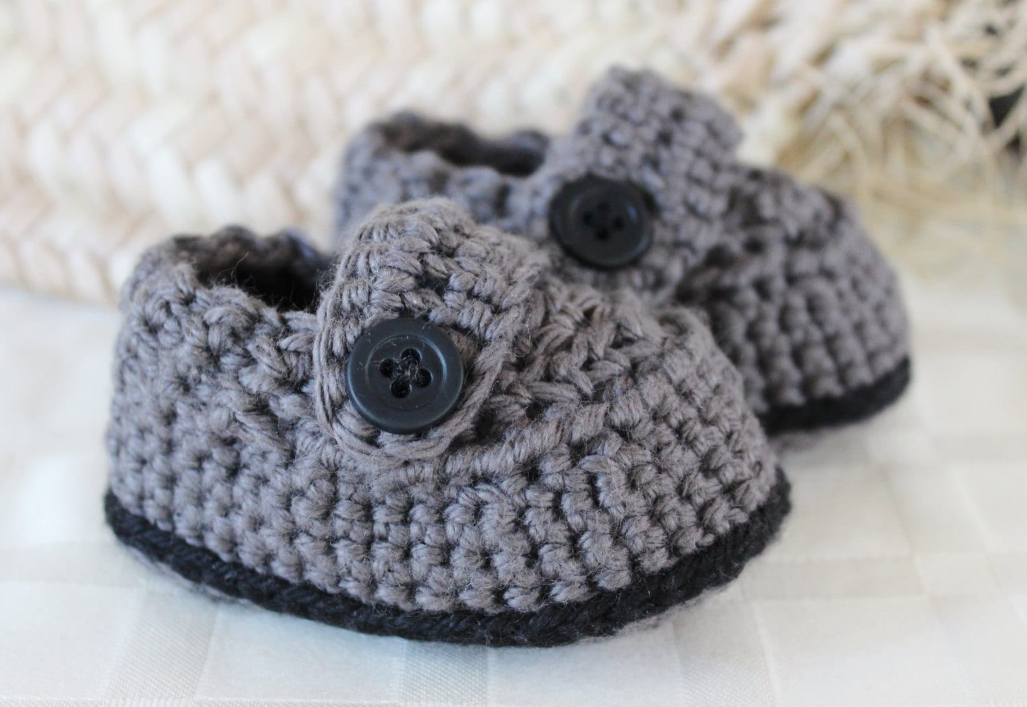 Items similar to Crochet Baby Boy Button Over Shoes on Etsy