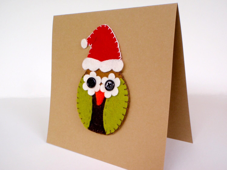 Christmas card with felt owl handmade by kartforchristmas on Etsy  Craftjuic...