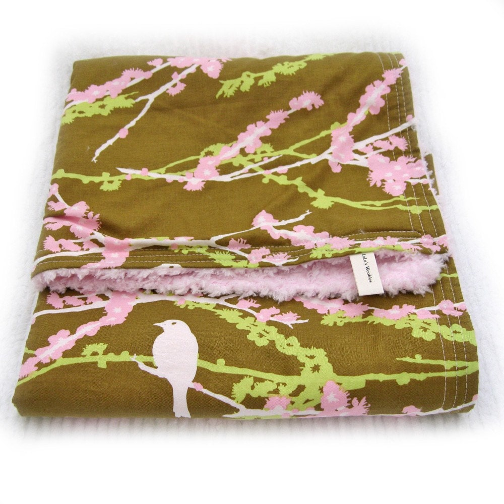 Cherry Blossom Sparrows on Olive Green Pink Minky Chenille Baby Woobie Blanket