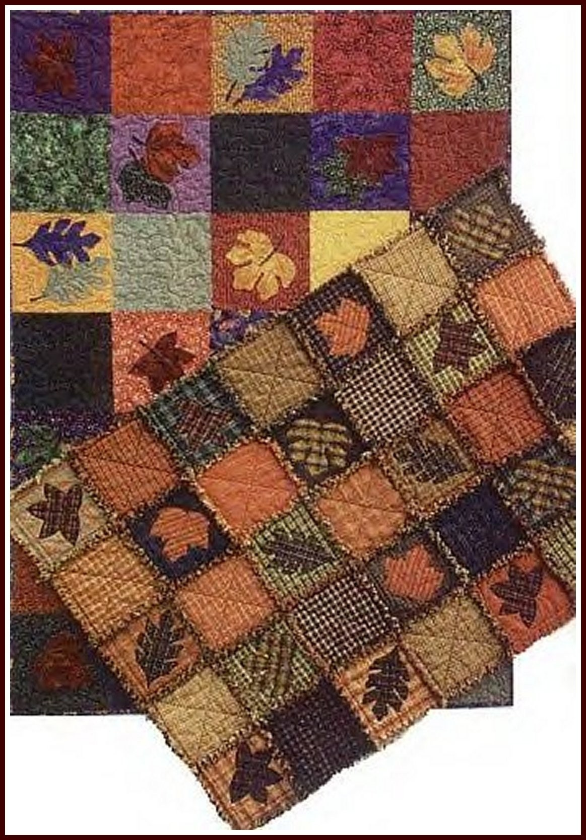 Fall Leaves Rag Quilt Pattern by prairiegrovepeddler on Etsy
