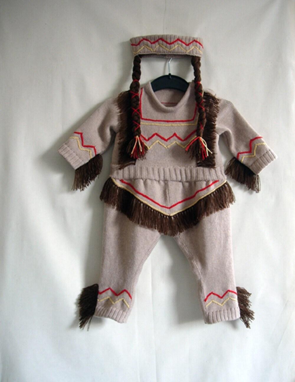 Handmade Knitted Indian Princess Babygrow