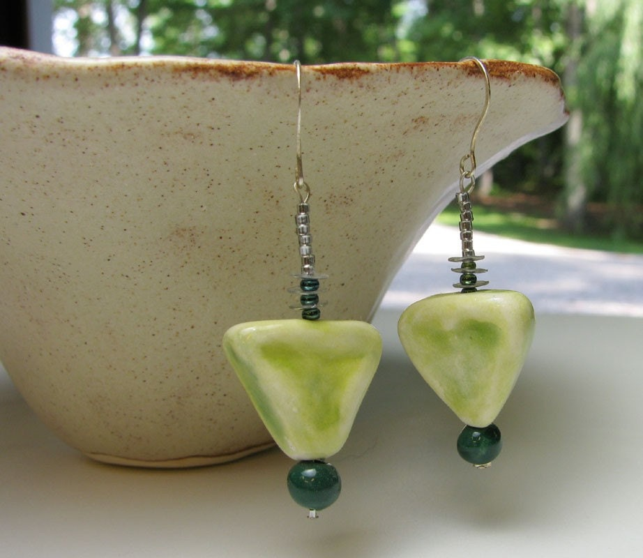 Woodsy Green Earrings Handmade Beads