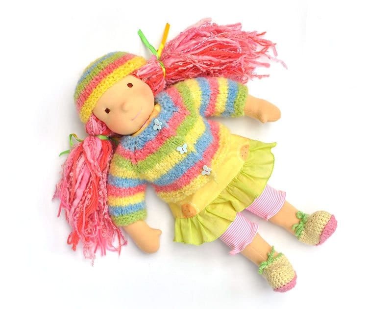 doll Clothes colored sweater and cap -  for your Waldorf  doll , 15''-16''