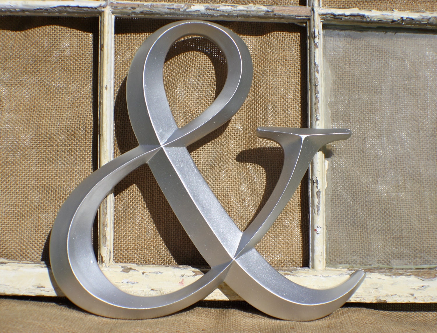 Ampersand wall decor sign letter silver by for Ampersand decor