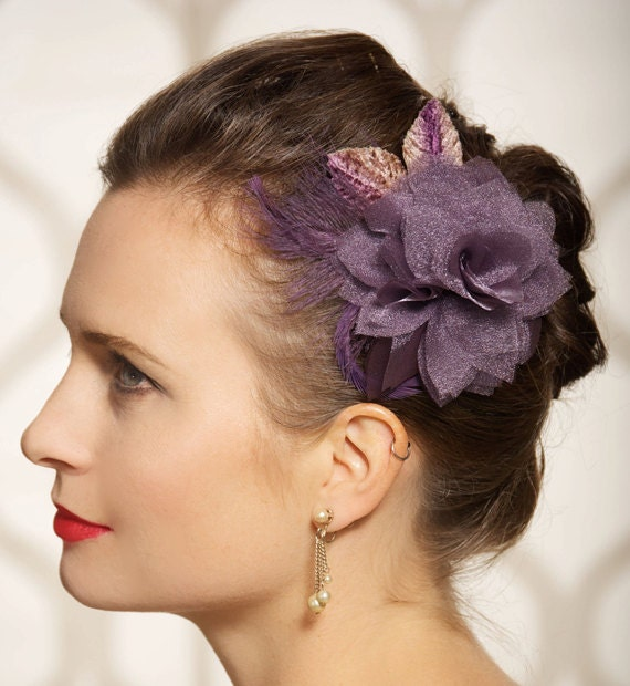 Plum Eggplant Purple Bridal Hair Flower Wedding Fascinator Feather Hair Clip