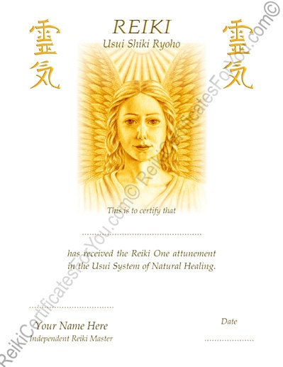 Reiki certificate template angel by reikicertificates on etsy for Reiki level 1 certificate template