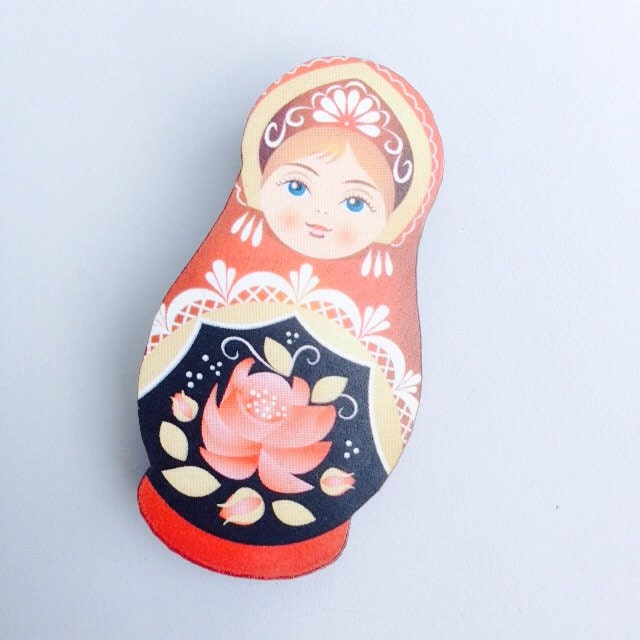 Red and Beige Russian Doll Wooden Brooch Pin Gift Laser Cut  Antique Toy Christmas Stocking Filler