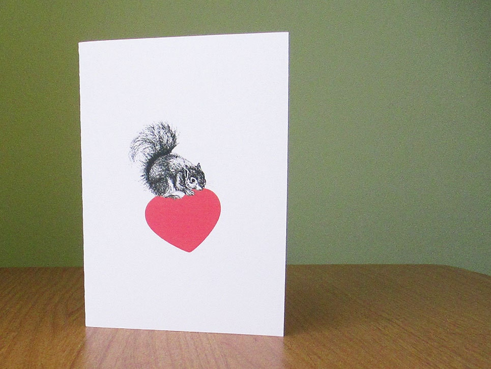 Squirrel Valentine card // anniversary card, wedding, new baby // squirrel hoarding love // squirrel heart card