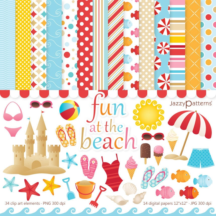 Beach clipart and digital papers set for personal or commercial use Fun At The Beach (DK001)