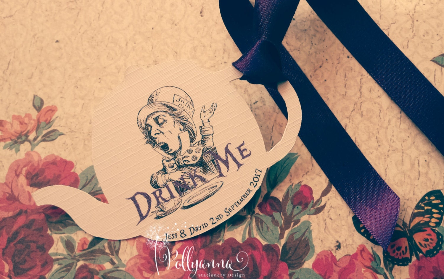 Image of 10 Bespoke Personalised Alice in Wonderland Drink Me Teapot Tags Any Colours