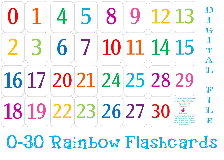 Printable+Number+30 Printable 0 30 Number Flashcards Instant by ...