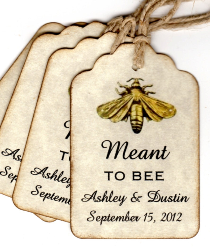 Vintage Wedding Gift Tags : 50 Vintage Meant To BEE Wedding Favor Gift Tags / Wedding Wish Tags ...
