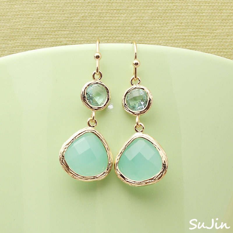 15%SALE) Gold Framed Minti CZ Drop with Round Crystal Blue CZ Connector, Earrings - SujinSimpleChic