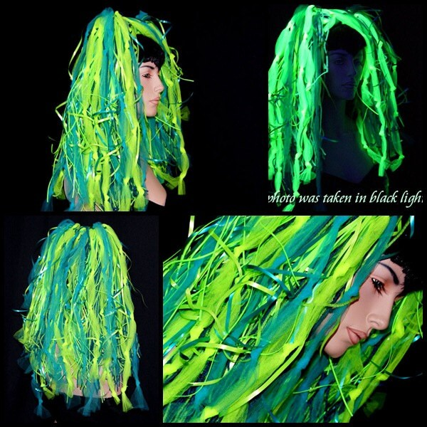 UV Teal Blue And Lime Green Knotty Cyber Dreads By Mtcoffinz