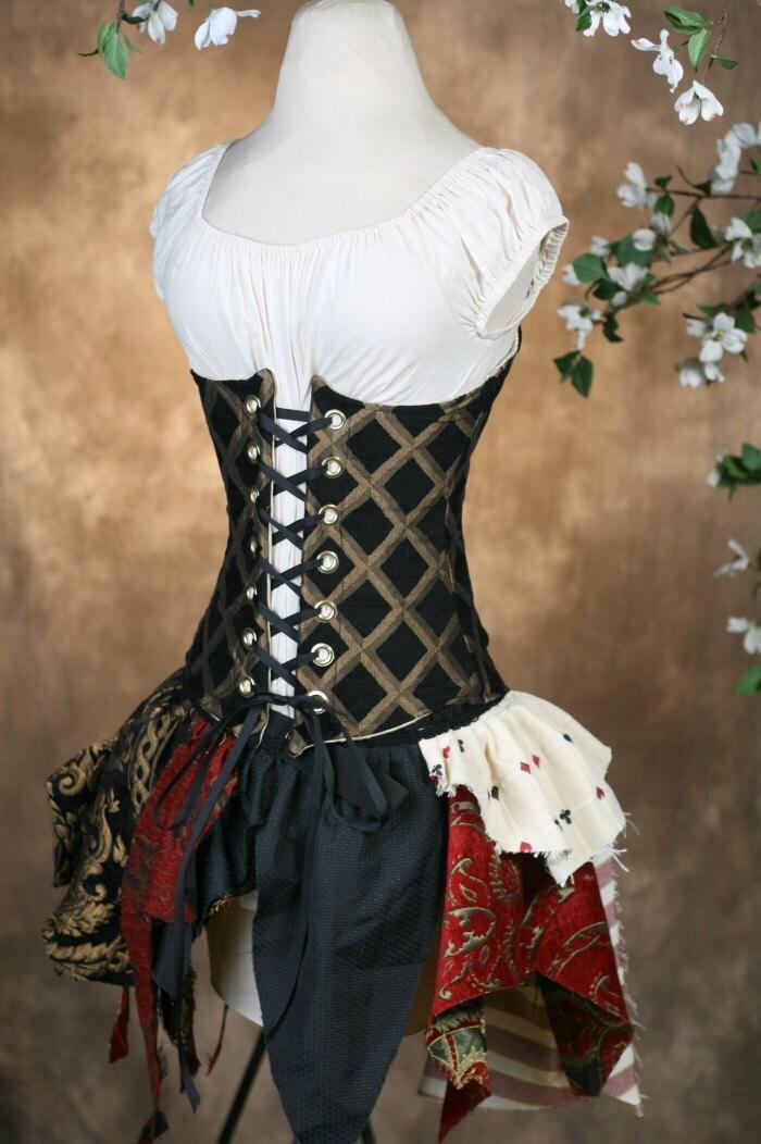 Black Diamond Corset and Tattered Skirt Set W26 to 28