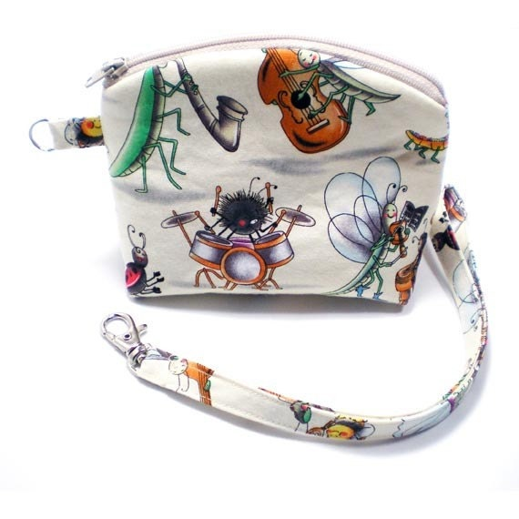 Flat Bottom Round Top Zipper Case Pouch Wristlet - Musical Insects - from Sew Darn Simple